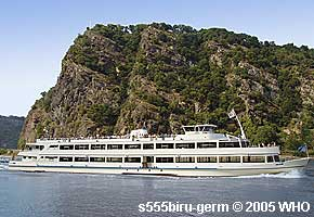 Rhine River day boat cruise: Lorelei Rock between Oberwesel and St. Goar on the Rhine River.